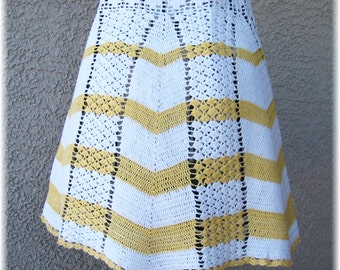 CROCHETED Apron in WHITE & YELLOW