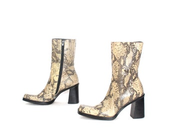 size 6.5 PLATFORM leather 80s 90s SNAKESKIN CHUNKY zip up boots