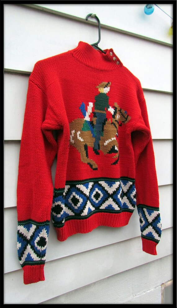 Cute 80s Vintage Horse Sweater Red Cotton Knitted