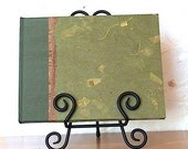 Fall Guest Book Lined or Blank 9x7 Moss Mango Leaf - Perfect for Weddings, Open House, B and B, Memorial