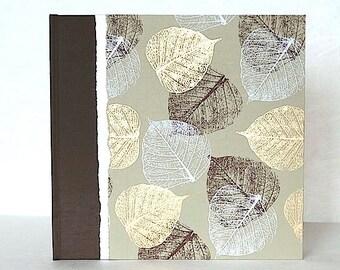 Photo Album Brown and Gold Leaves-Wedding Scrapbook,Photo Book Album,Guest Book, Personalized Album
