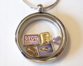 Custom  Baltimore Ravens Locket and Charm Necklace (locket now only available w/ CZ stones around it)........other team necklaces available