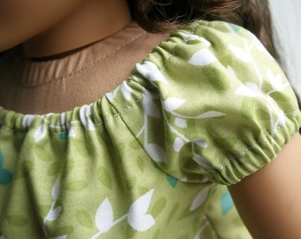 Fits like American Girl Doll Clothes - Perfectly Peasant Dress in Light Moss Green, Made To Order
