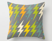 Modern Decorative Throw Pillow Cover in Yellow, Green and Grey Lightning Pattern, Original Textile Design, 3 Sizes Available