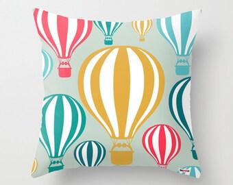 Nursery pillow - Balloons pillow - Decorative pillow - hot air balloon pillow - designer pillow - Pillows for kids