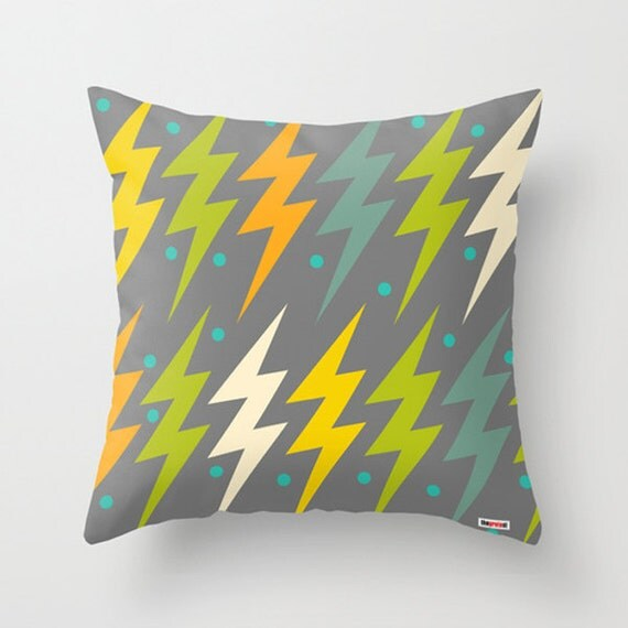 Modern Green Pillow Cover : Modern Decorative Throw Pillow Cover in Yellow Green and Grey