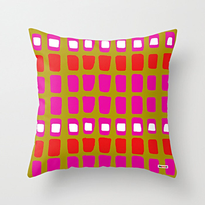 Pink and Green Decorative throw pillow cover Colorful pillow