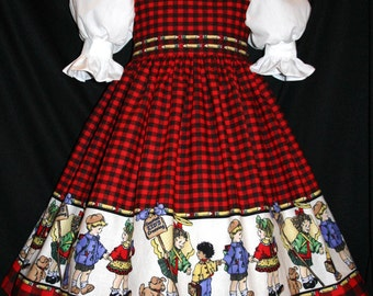 VHTF Patty REED Red Plaid SCHOOL Border Dress