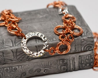 All coming up roses copper and sterling silver chainmaille necklace