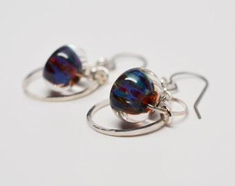 Argentium silver, sterling, CZ accented chainmaille boro glass dangle french wire hoop earrings