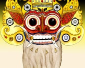 Mythology Barong Bali Lion Demon Spirit Art Giclee 8x10 print mythological animal teeth fangs indonesian
