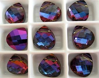 6 Bermuda Blue Swarovski Crystal Pendants Briolette 6012 11mm