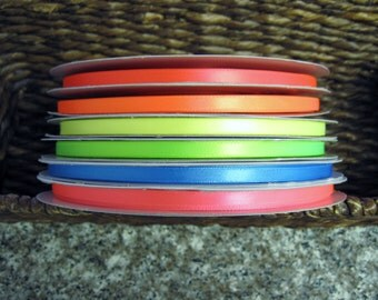 """50% OFF--1/4"""" Neon Satin Ribbon--5 yards--You CHOOSE COLOR--6 Colors Available"""
