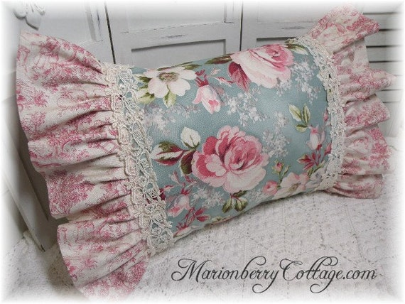 Cottage Rose Pillow French Toile Provence pink roses on blue pillow ecs rdtt svfteam