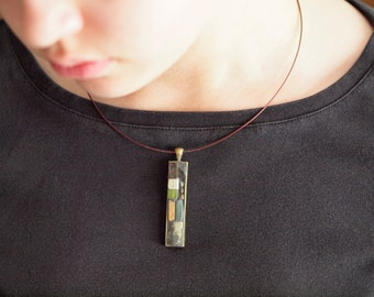Minimalist Necklace Modern Necklace Geometric Mosaic Necklace Bronze Base Metal Natural Semiprecious Stone Pendant Unique Modern Jewelry