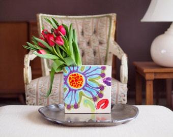 Boho Vase Ceramic Vase Spring Floral Vase Jubilation Flat Box Vase Fun Colorful Pottery Happy Home Decor Best Friend Birthday Gift for Women