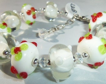 Red & White Lampwork Beads Bracelet with Crystal
