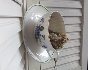 Upcycled Recycled Vintage Violets Teacup Saucer Bird Nest Eggs Inspirational Words Altered Art Wall vignetteDecor Rustic French Farm House