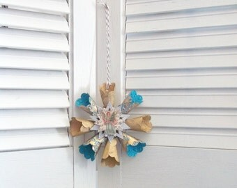 Vintage Victorian Style Teal Gold Angel Star Snowflake Paper Wreath Christmas Ornament Silver Glitter