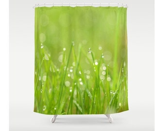 Dew In The Grass Shower Curtain Natural History Forest Scene Insects Point Of View Lovely Green Scene Woodland Curtain