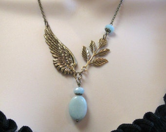Angel wing necklace, amazonite blue beads - nature inspired, brass wing