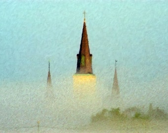 Landscape, Nature Photograph, Fine Art, Painted Photograph, Seasonal Photography, Rooftops, Steeples,Giclee Print