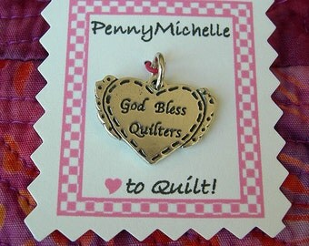 God Bless Quilters Sterling Silver Charm