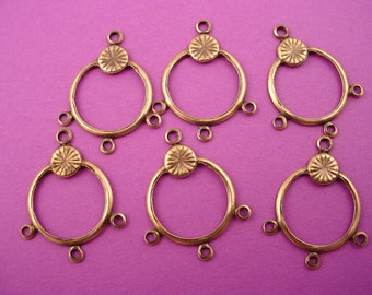8 brass ox hoop chandelier 3 loops charm 17mm