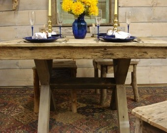 """Driftwood Trestle Table (32"""" x 24"""" x 18, 30, or 36""""H) (Custom Request New Pictures Soon)"""