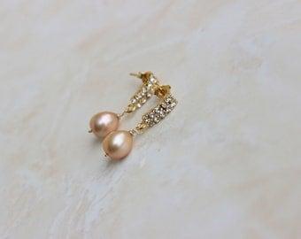 Champagne Gold Pearl Earrings Teardrop Gold CZ Stud GE18