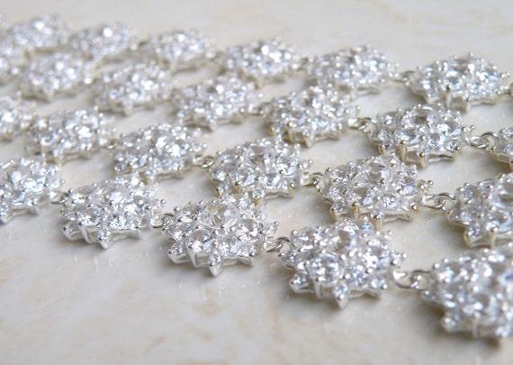 Bridal Bracelet Cushion Cubic Zirconia Sterling Silver IB1