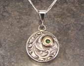 Hand Engraved Victorian Sterling Silver Necklace with 14 k Gold and Russian Chrome Diopside