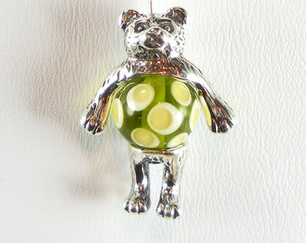Bear Bead Cap Charm Sterling Silver, Made in the USA
