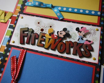 Disney World Disney Land Fireworks Parade  Premade 12x12 Scrapbook Pages for GIRL BOY FAMILY
