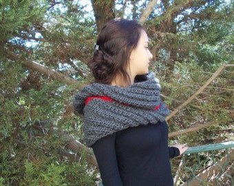 Large Warm Big Chunky knit cowl scarf Bulky grey gray winter neck warmer wrap country rustic thick men women capelet hood hoodie soft yarn