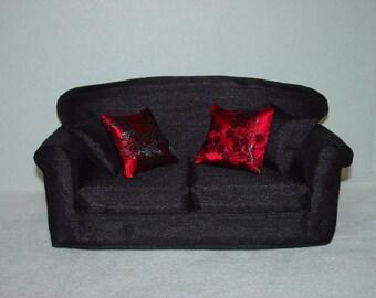 11 1/2 inch  Doll Sofa, Fashion Doll Couch, Black Shantung