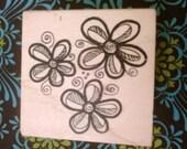 Swirl Flowers Rubber Stamp