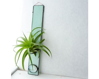 Stained Glass Air Plant Holder - Tall Mint