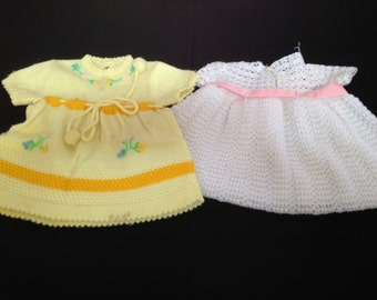 Pair of Vintage Made in Spain Knit Baby Dresses (White and Yellow)