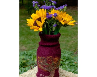 Felted Wool Vase Cover  Needle Felted Tree Design