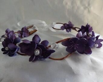 Bridal Hair Wedding Hair Flower Crown Purple Floral Crown Woodland Crown Bridal Headpiece Wedding