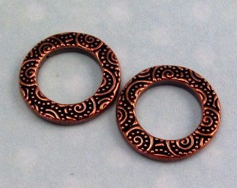 Small Spiral Ring, Antique Copper, 16 MM, TierraCast Pewter 2 Pc. TC45