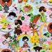 1 yard Anime Geisha Girls cartoon japanese fabric