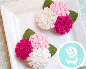 Wool Felt Flower Trio in Pink and White
