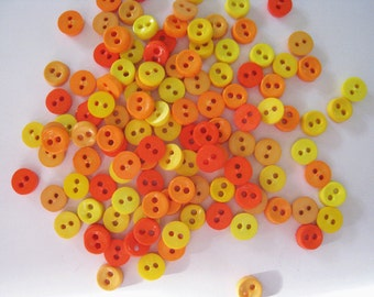 100 pcs of tiny button 6.5 mm - Bright Orange and Yellow