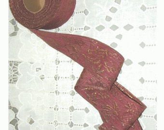 HALF PRICE SALE - Metallic Gold Embroidered Antique Ribbon - Yardage