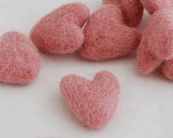 3cm 100% Wool Felt Hearts - 10 Count - Dusty Rose Pink