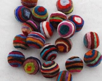2cm - 100% Wool Felt Balls - 20 Count - Assorted Striped Felt Balls