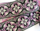 2 yards MORESQUE, Jacquard strap. Pink, white on black. 2 inch wide. 961-C