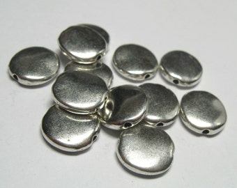 Large Flat Matte 10mm Fine Silver Plated Pewter Disc Beads - Lead Free - 12 pieces